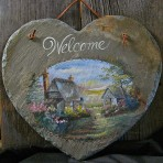 Country Cottage Welcome Slate – 12″