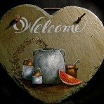 Country Still Life Heart Slate – 12″