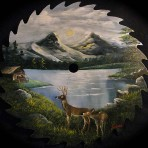 Mountain Lake with Deer Round Blade – 10″