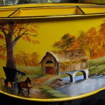Fall Covered Bridge Picnic Caddy