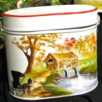 Covered Bridge Tin Pail with Lid