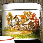 Old Grist Mill Tin with wagon Pail with Lid