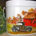 Old Green Truck Tin Pail with Lid
