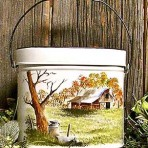 Stable & Milkcans Tin Pail with Lid