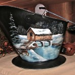 Fall Covered Bridge Coal Bucket