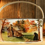 Fall Log Cabin with Bear Picnic Caddy