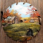 Fall Log Cabin with Bear Round Blade 10-11″