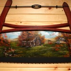 Fall Log Cabin with Running Deer Bucksaw