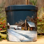Winter Log Cabin with Sleigh Crock