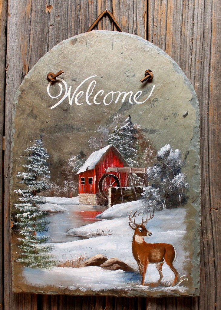 Winter Mill With Deer 13x9 Quot Joyces Creative Country